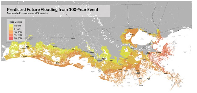Predicted future flooding from