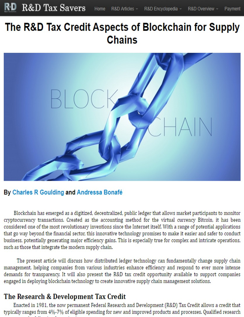 The R&D Tax Credit Aspects of Blockchain for Supply Chains